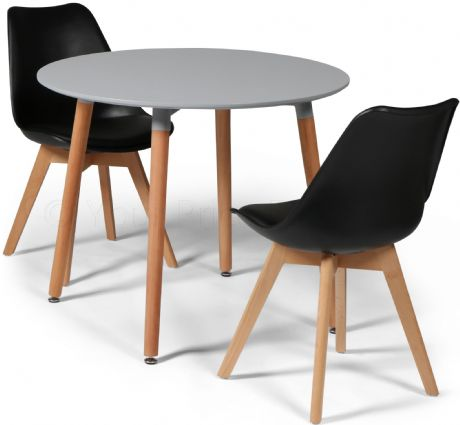 Toulouse Tulip Eiffel Designer Dining Set Grey Round Table & 2 Black Chairs Sale Now On Your Price Furniture